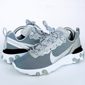 NEW Nike React Element 55 Shoes Metallic Silver